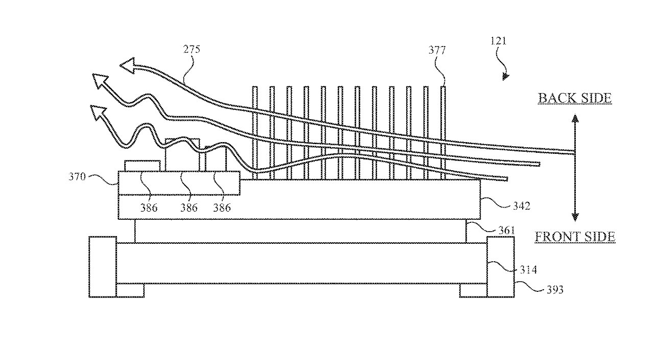 Detail from the patent showing one description of airflow over a device