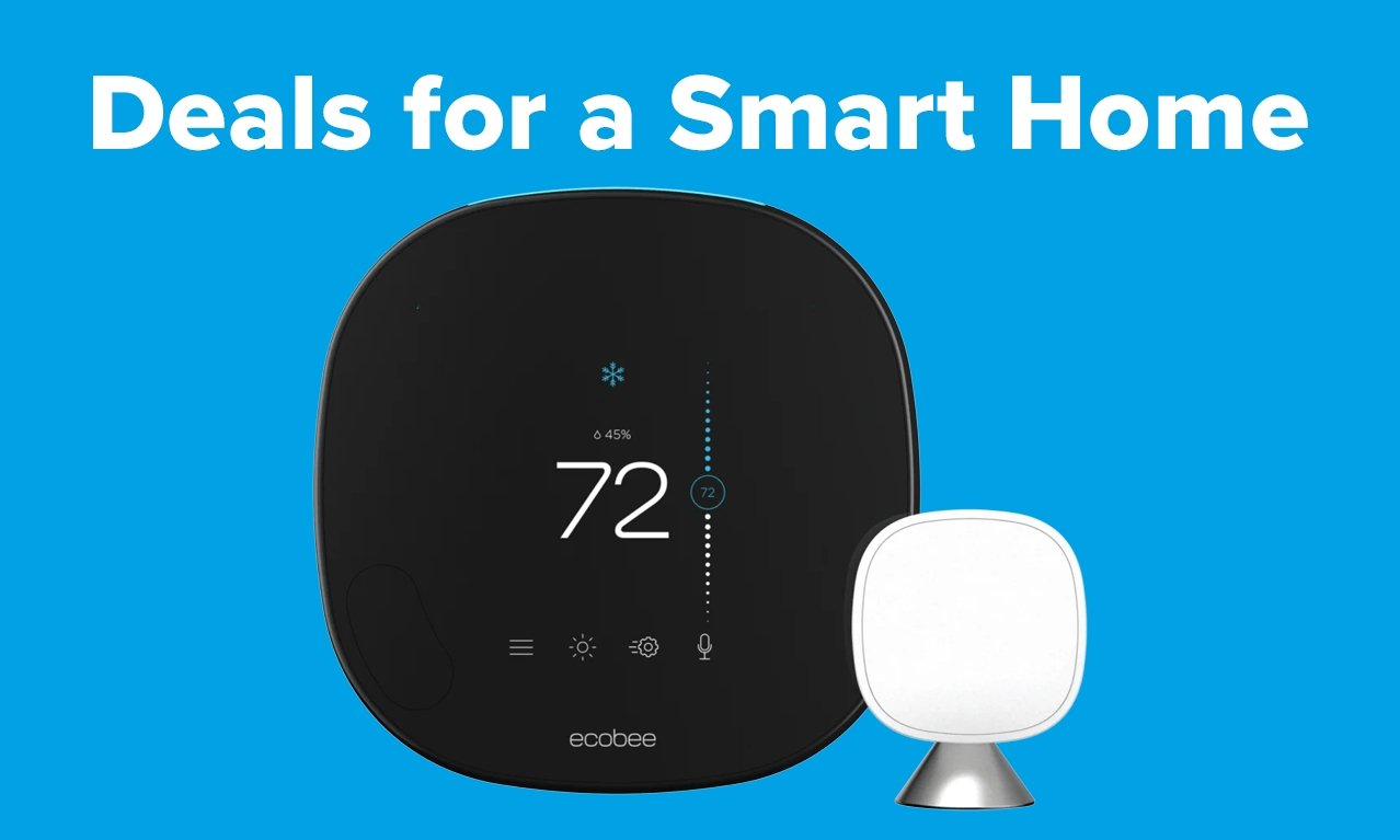 ecobee Smart Thermostat on blue background