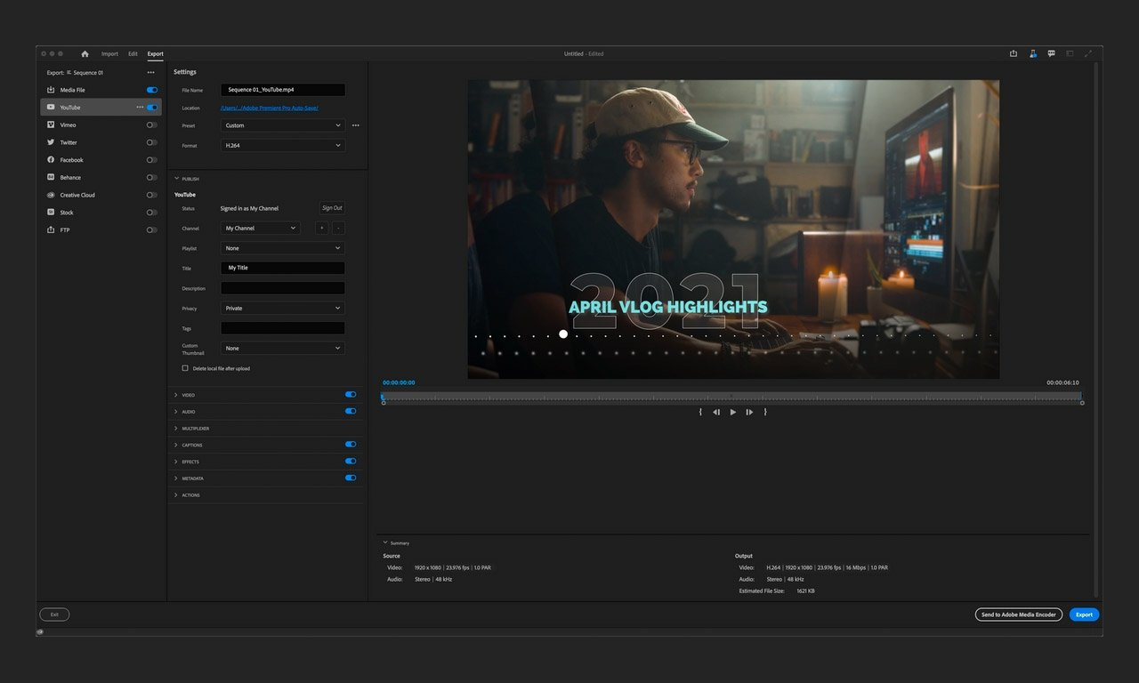 Adobe Premiere's new export mode, currently available in public beta