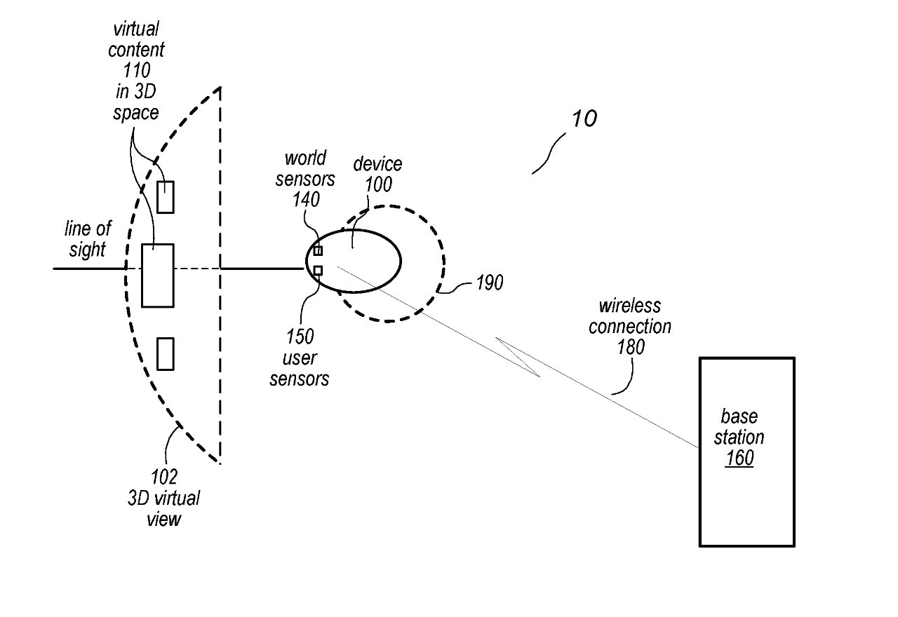 Detail from the patent showing a mobile device wirelessly tethered to a more powerful base station