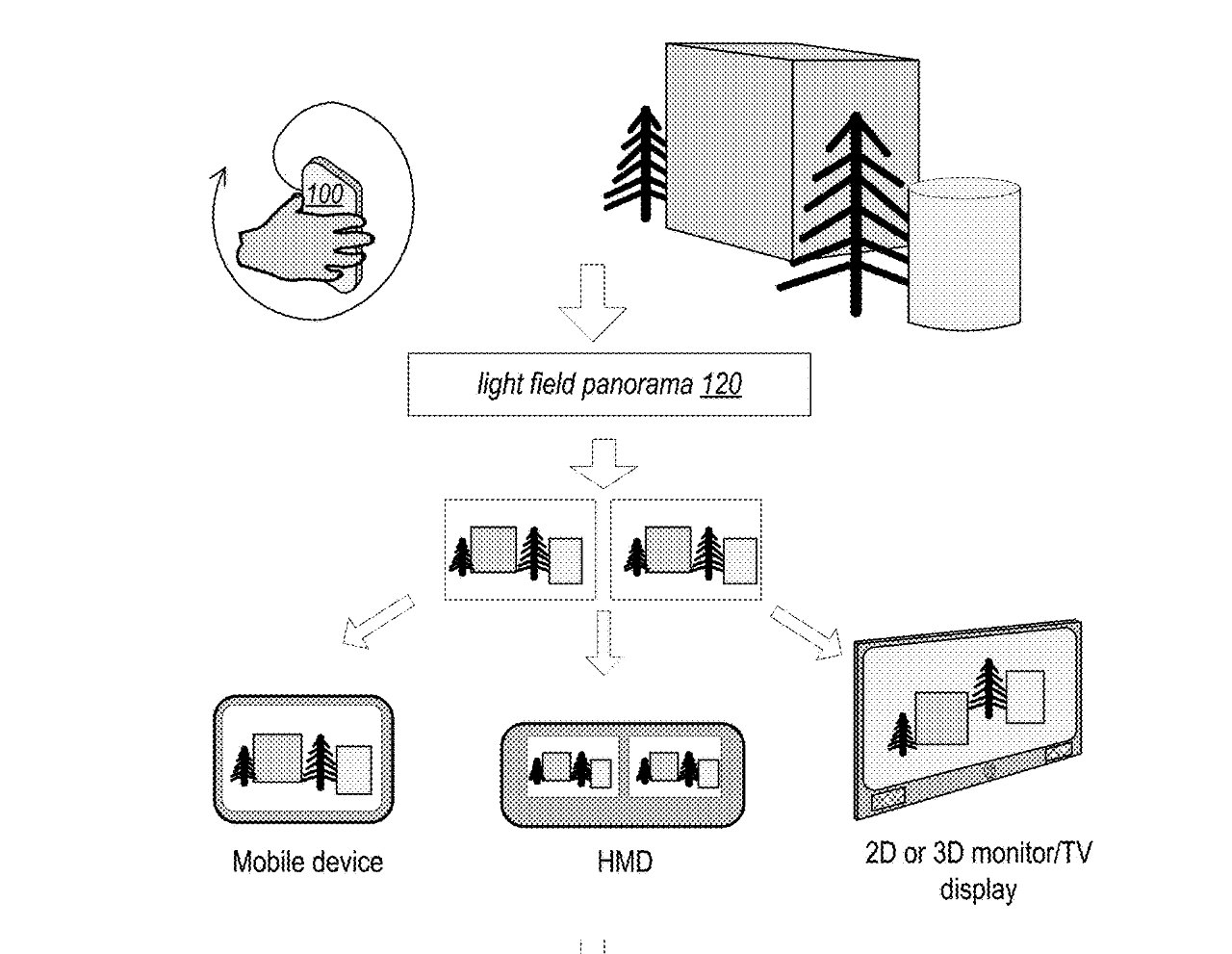 Edited detail from the patent showing how gestures can capture information that is then later relayed for display as AR