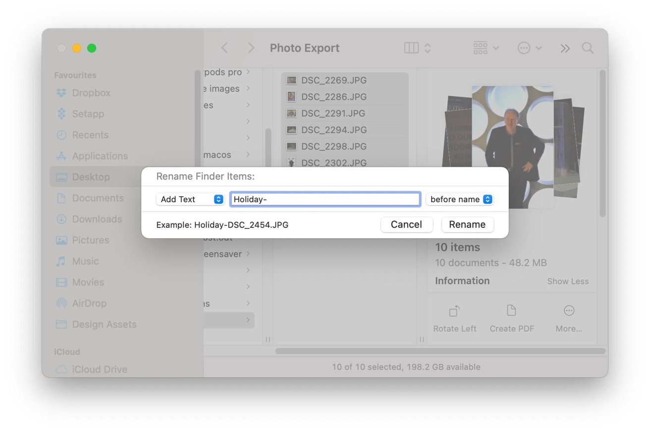 Add text allows you to add a string before or after the existing file name.