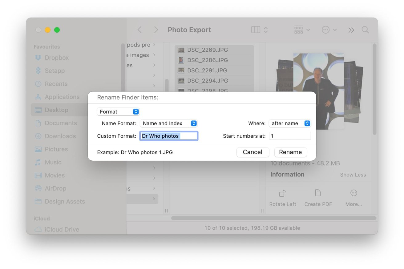 Format lets you choose a descriptive text string and add a counter, or today's date and time.