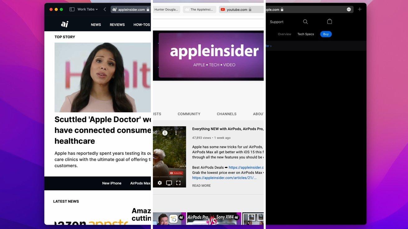 Safari's toolbar adjusting for AppleInsider (left), YouTube (center), and Apple (right)