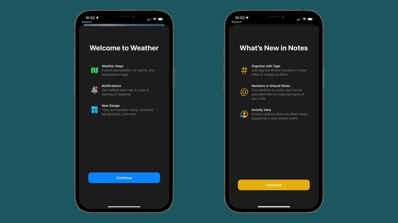Weather and Notes have new splash screens