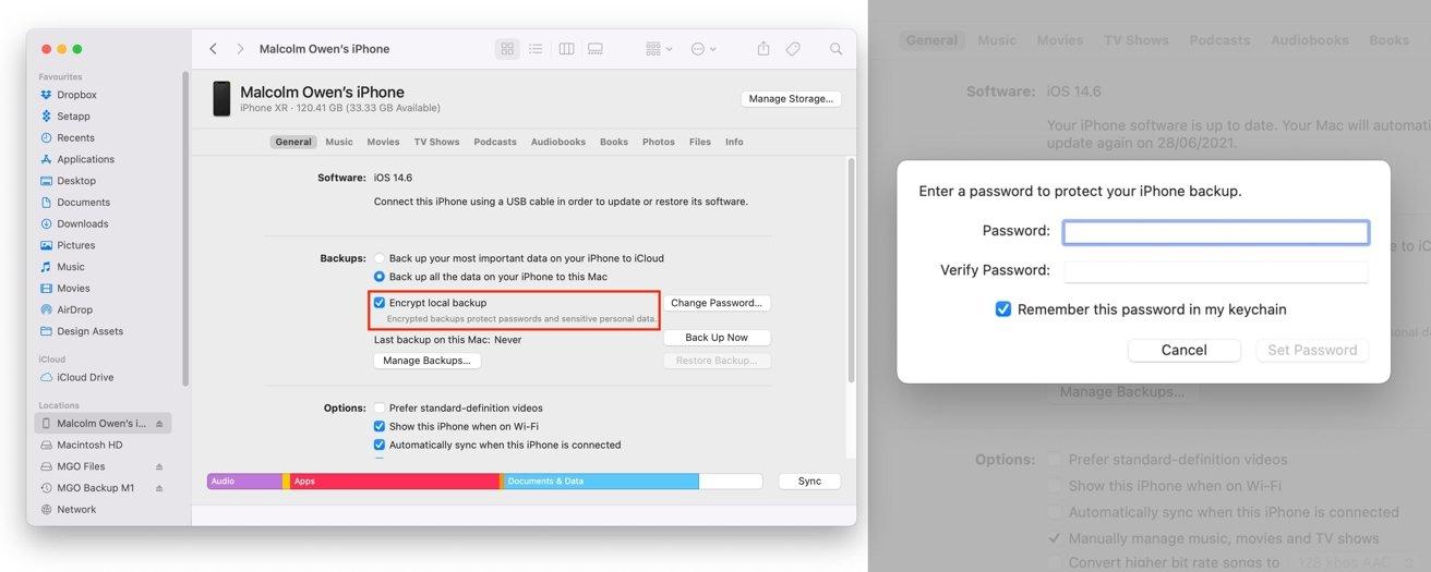 Debe marcar esta casilla para habilitar las copias de seguridad de iPhone encriptadas en su Mac.