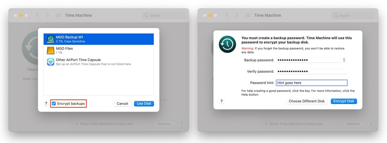 The option to encrypt a backup only appears when you're setting up a disk in Time Machine.