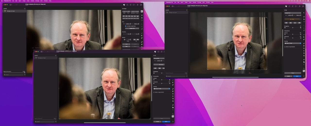 Top left: an original image. Bottom left: Crop tool selected. Top right: how Pixelmator Pro's ML suggests it be cropped