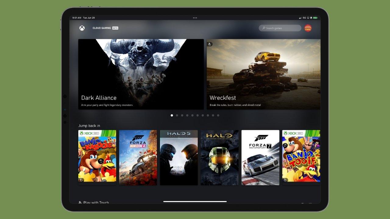 The Xbox Cloud Gaming menu looks like a native iPadOS app in full screen