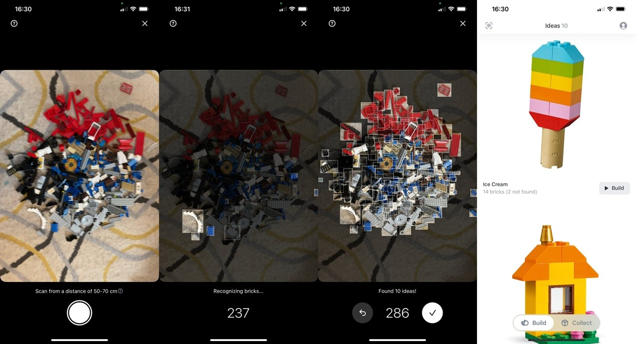 Brickit uses your iPhone camera to scan a pile of Lego bricks on a surface.