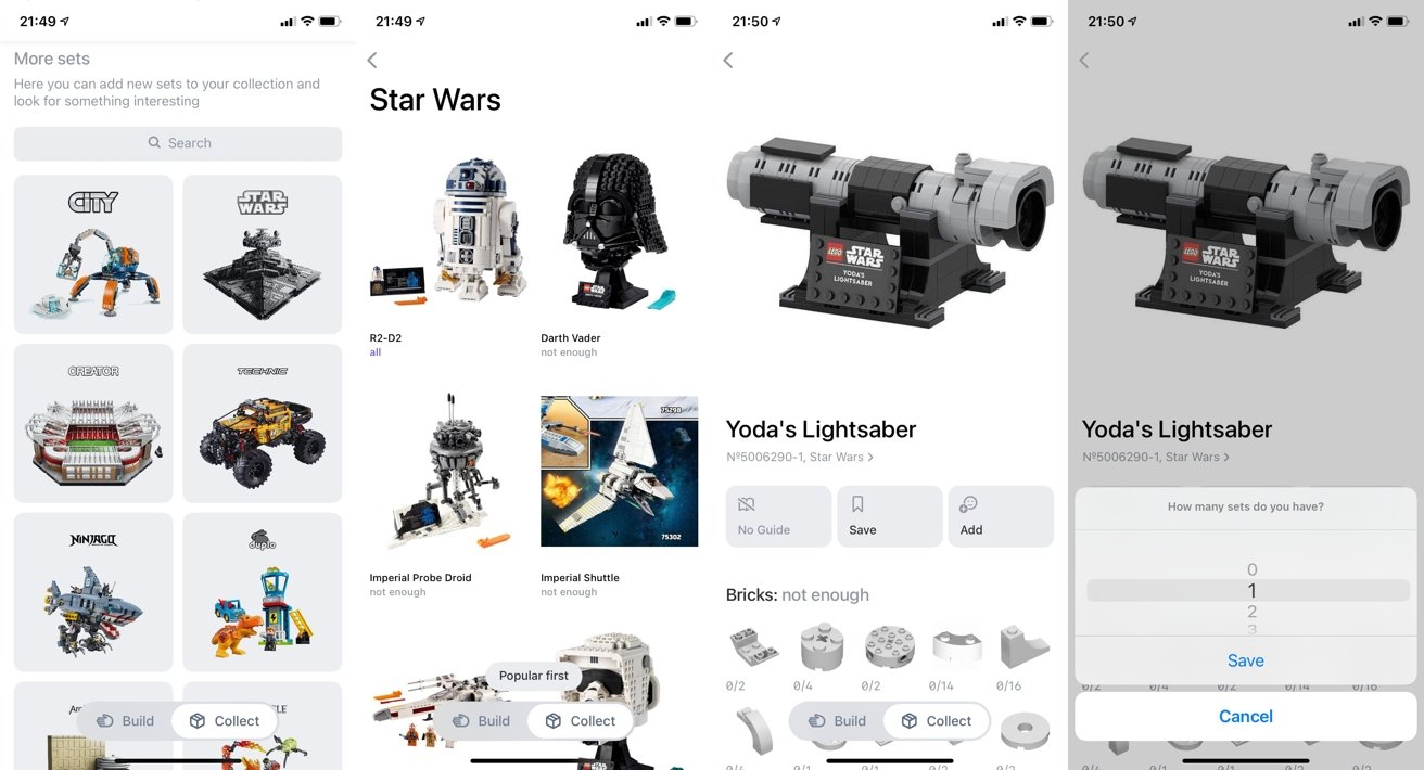 You can list your Lego sets in the app.