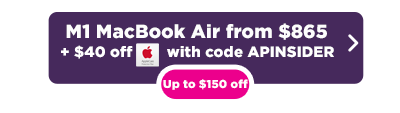 M1 MacBook Air for $865 deal button in pink and purple