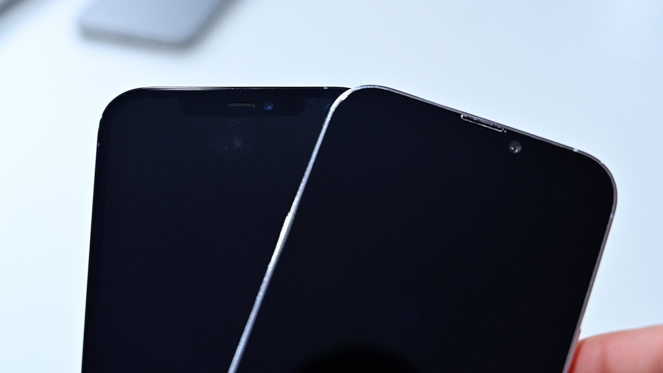 iPhone 12 Pro Max notch (left) and new iPhone 13 Pro Max notch (right)