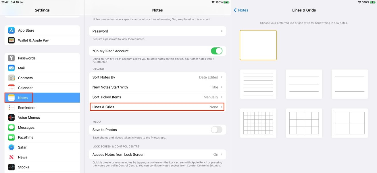 You can set any of the lines or grid background as the default for new notes.