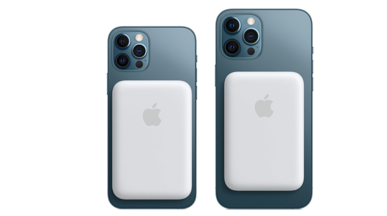 Apple's new MagSafe Battery Pack on an iPhone 12 Pro (left) and iPhone 12 Pro Max