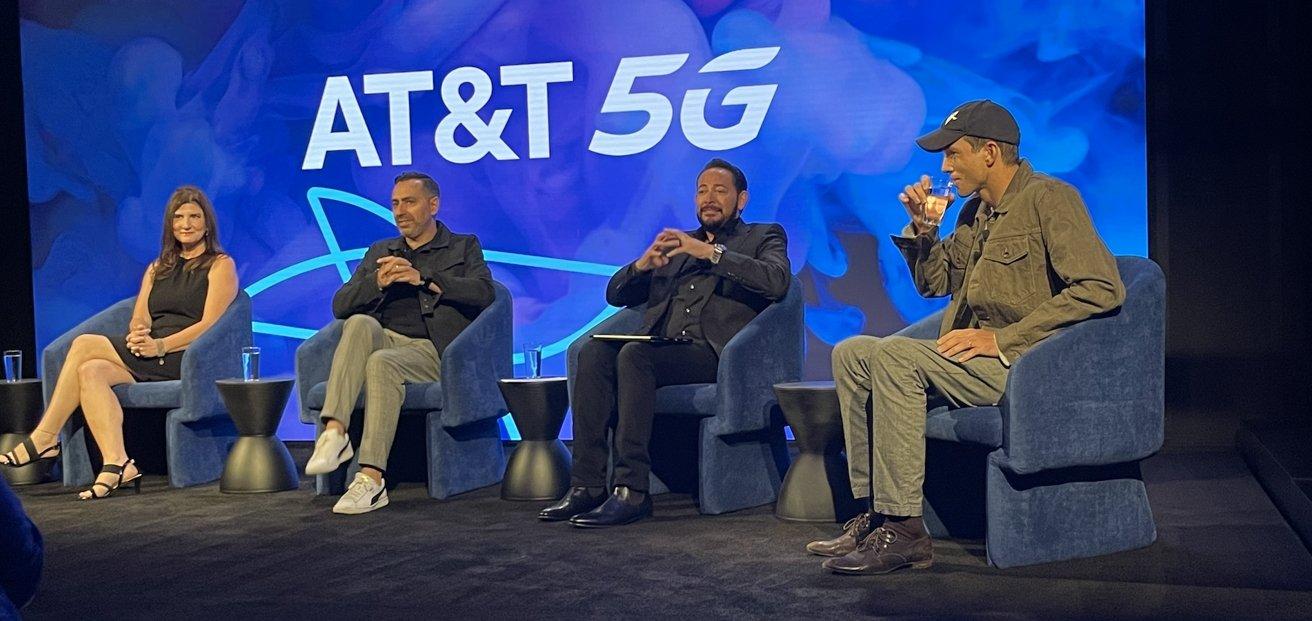 AT&T's panel: Dana Porter Rubenstein, Tony Goncalves, Thaddeus Arroyo and Ashton Kutcher