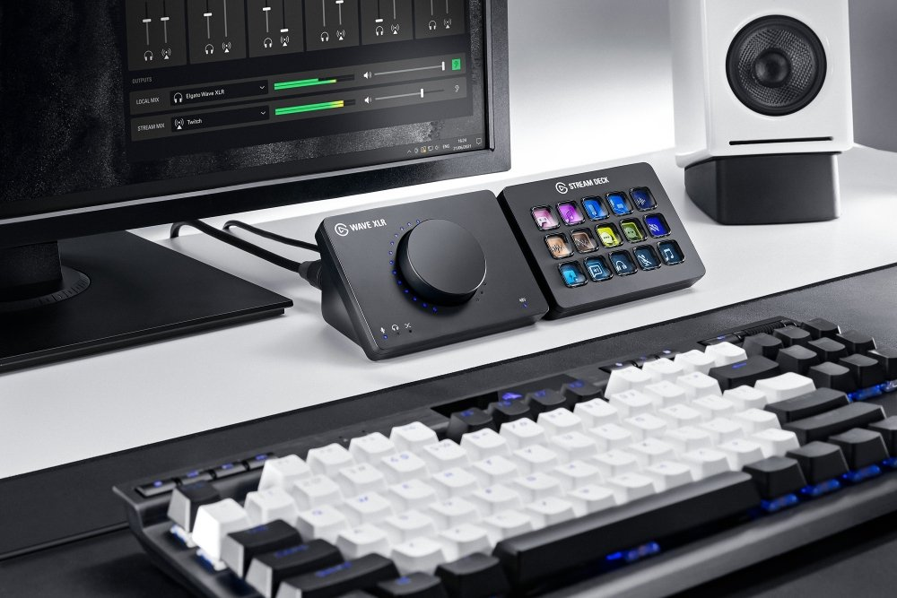 Wave XLR (left) next to the updated Stream Deck (right)