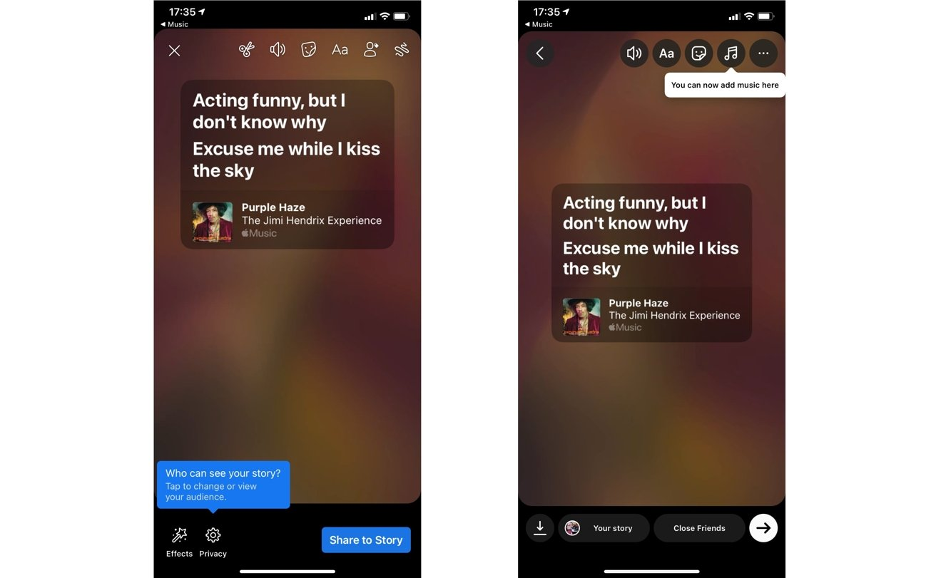 Sharing lyrics via Facebook and Instagram involves creating a Story for each service.