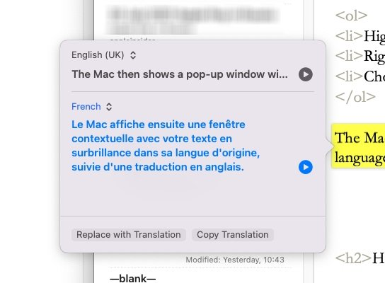 Just highlight some text, then right-click and choose translate