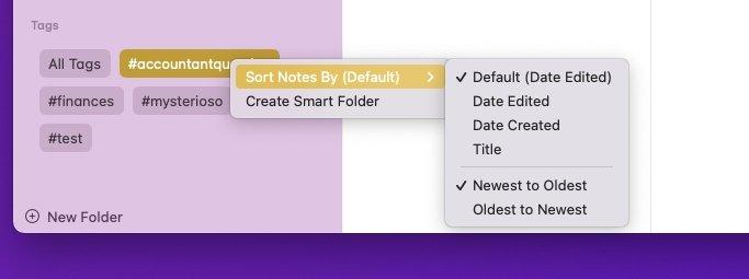 Найдите теги в группе в нижней части списка папок Notes, где вы также можете создавать их умные коллекции.