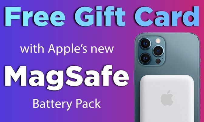 Free $10 gift card with Apple's MagSafe Battery Pack for iPhone 12