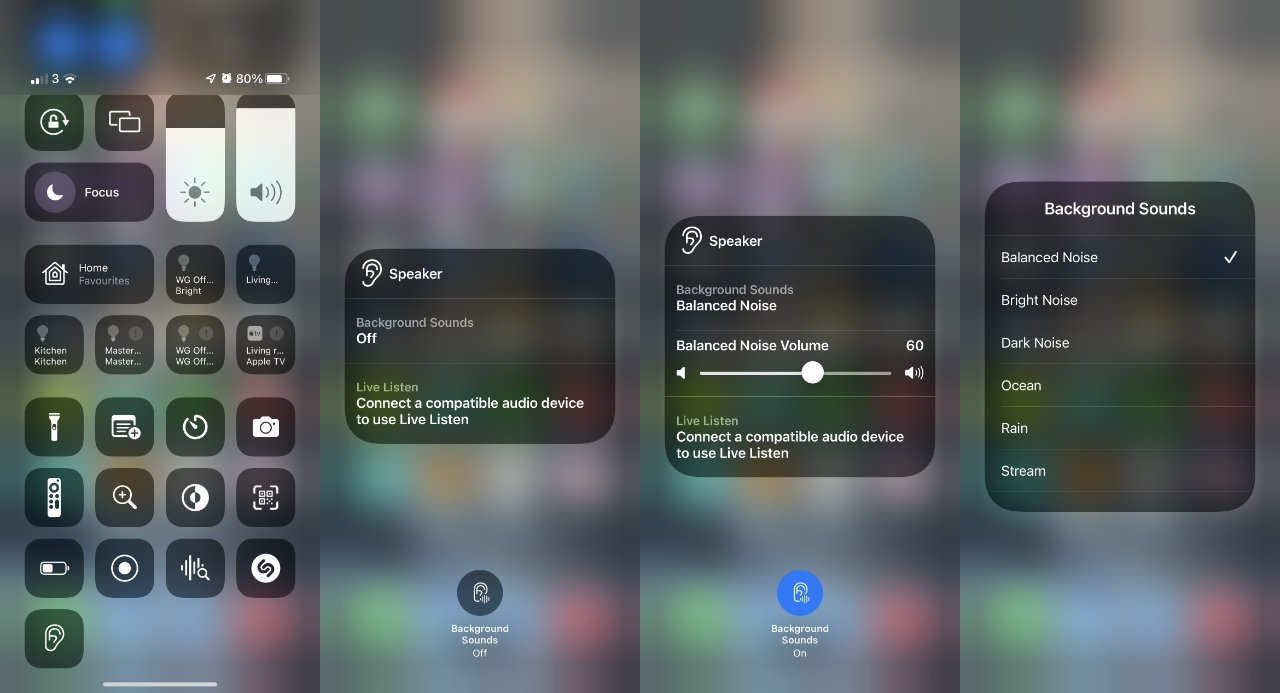 You can add Hearing to Control Center and use it to turn Background Sounds on or off