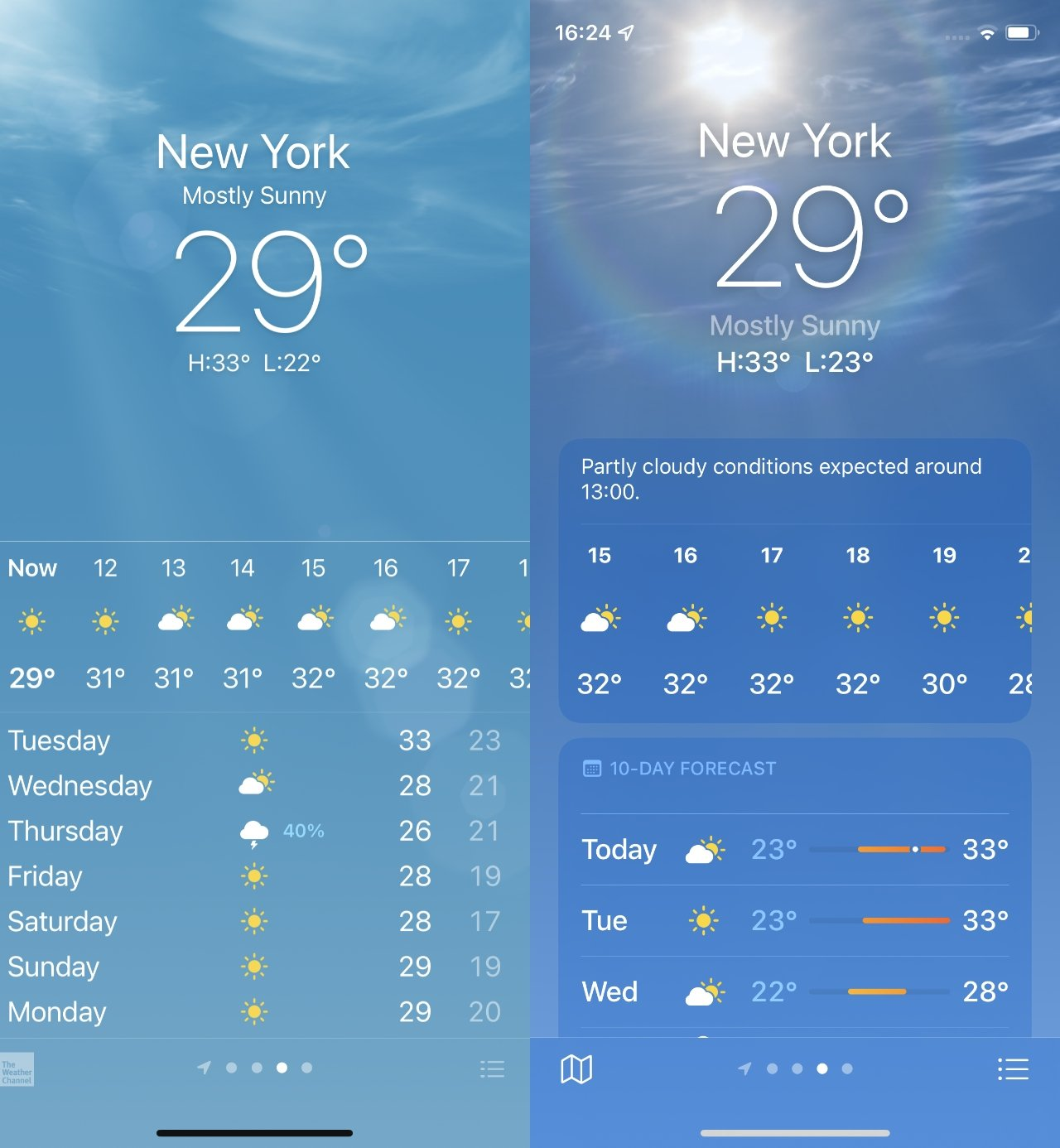 Weather details are more spaced out, making them easier to find and read