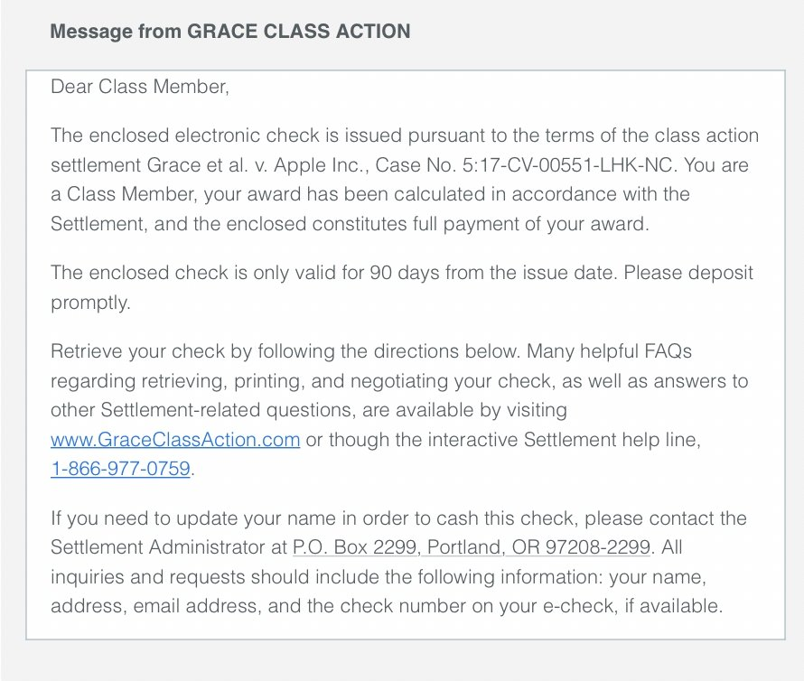 Extract from the payout message being sent to people in the class action