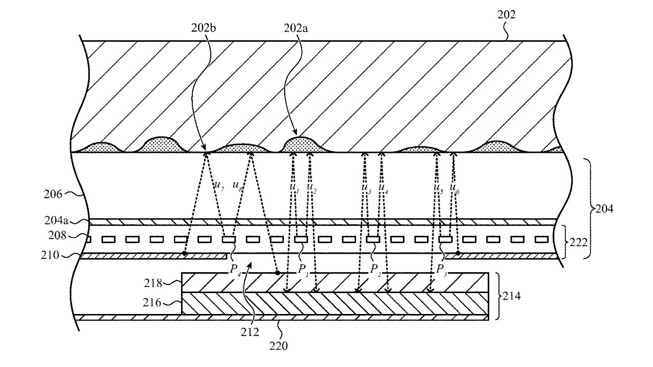 Detail from the patent showing one arrangement of a sensor beneath a display