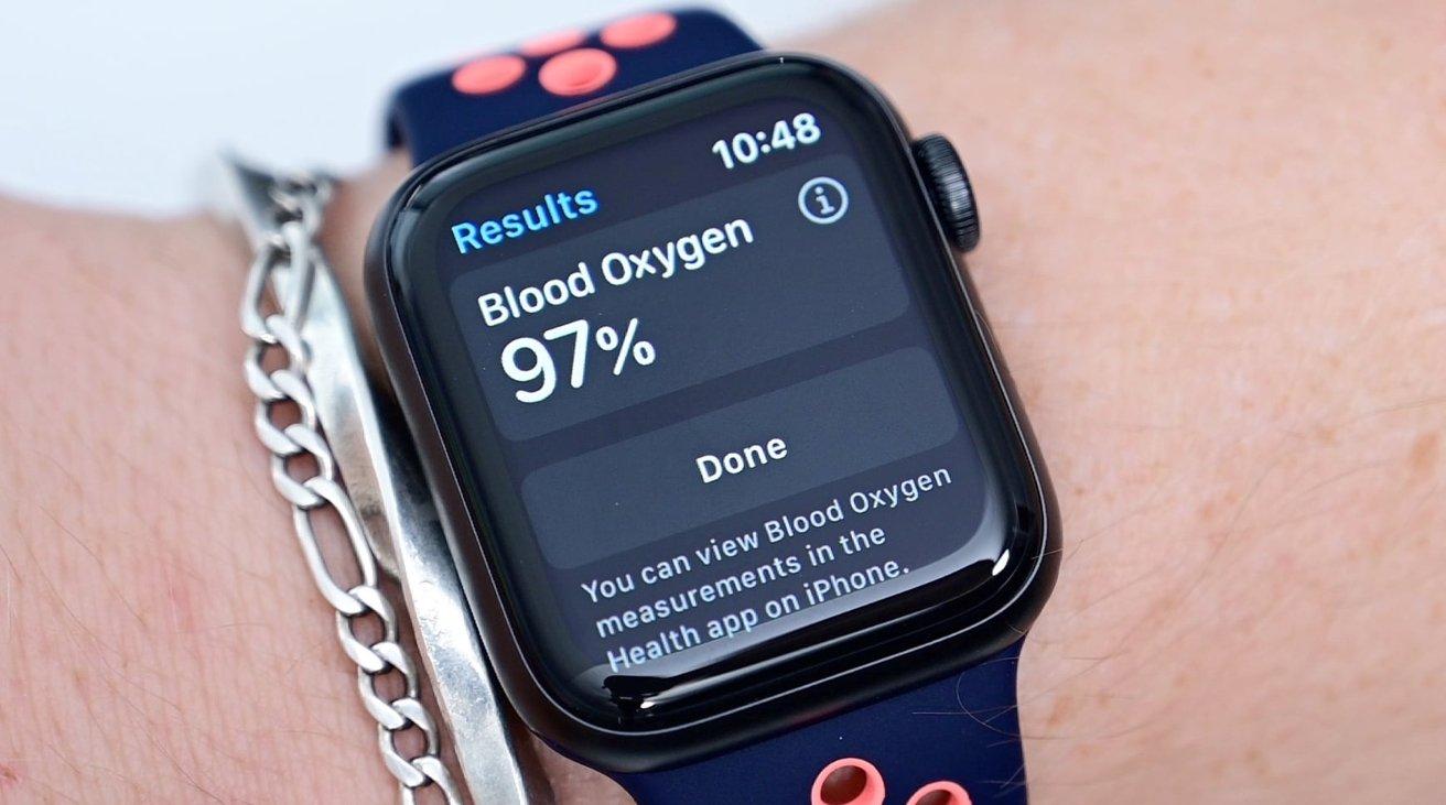 An Apple Watch showing a blood oxygen reading.