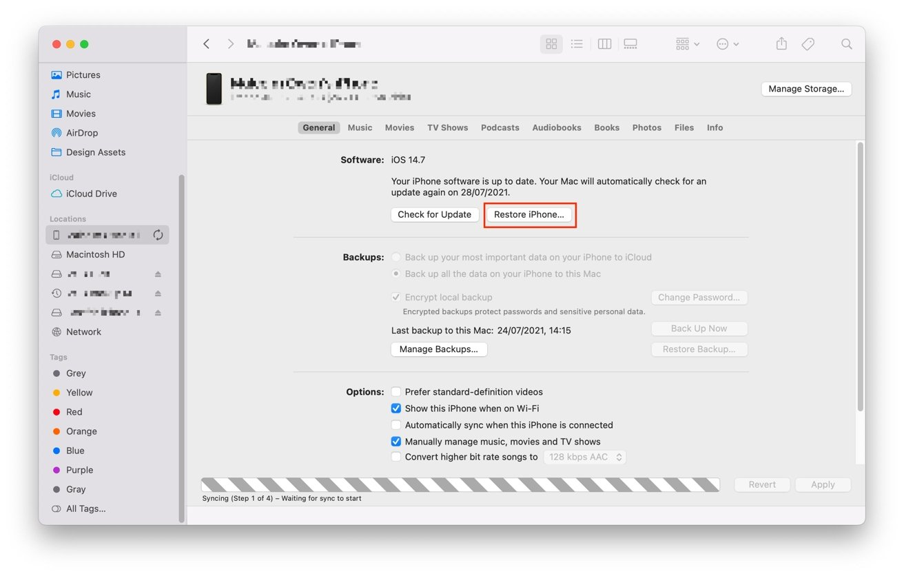 iTunes and Finder have the same option for restoring an iPhone.