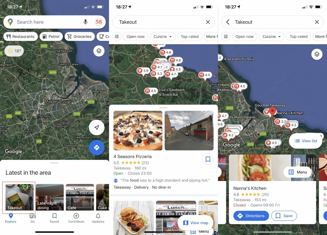 Google Maps surfaces more information about your vicinity, but at the cost of being hard to read