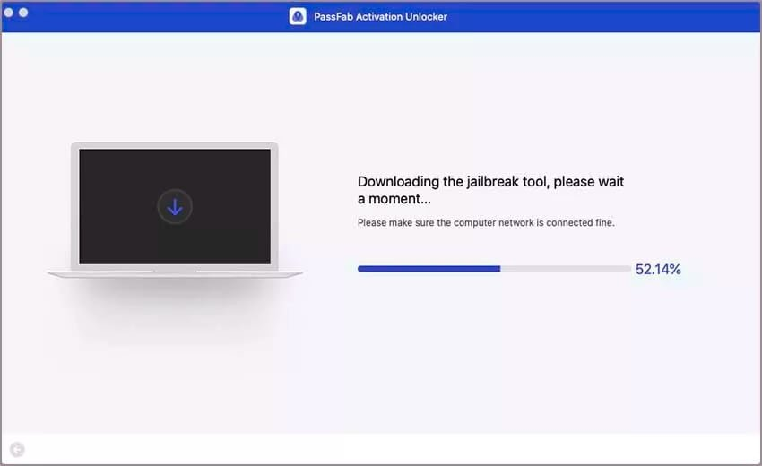 A jailbreak tool is downloaded and used for the bypass.