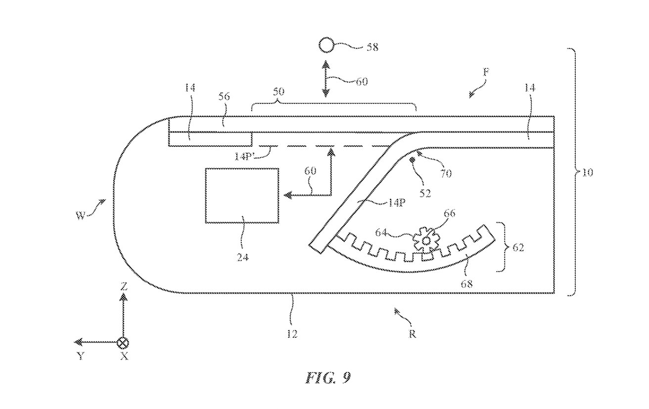 A mechanism could bend part of a flexible display out of the way.