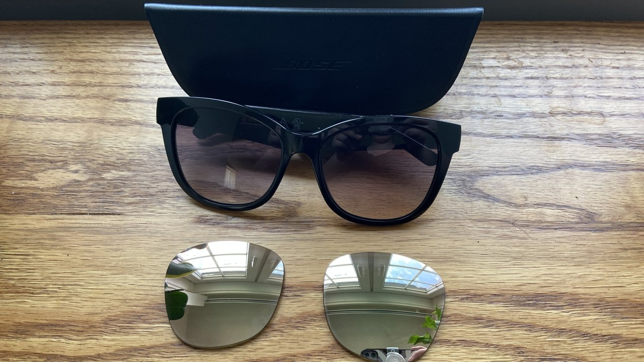 You can swap lenses in Bose frames. The mirrored lenses are polarized to reduce glare when driving.