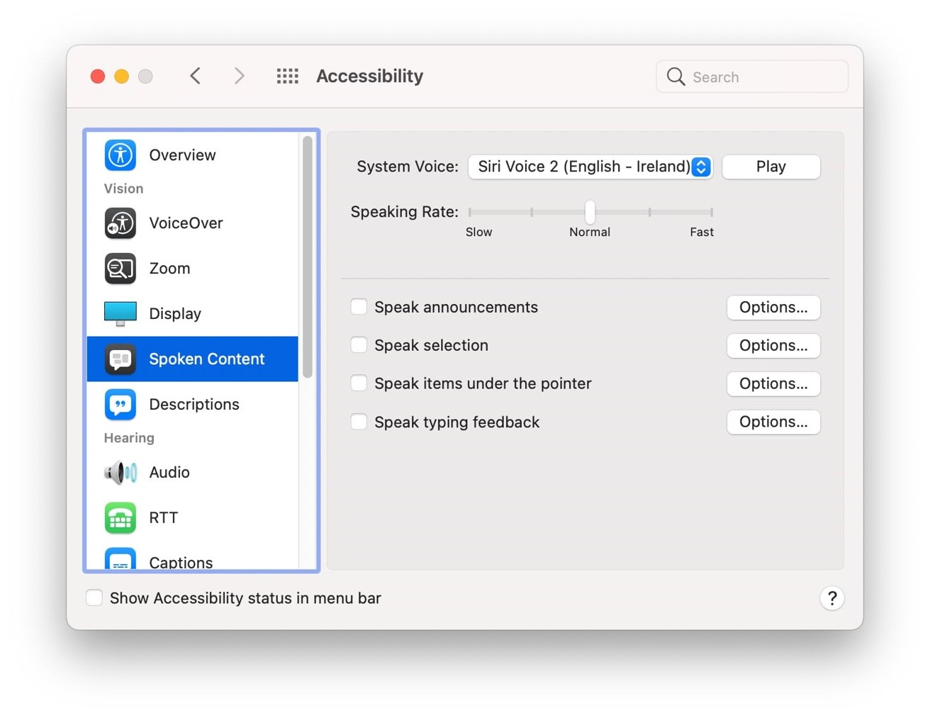 The Spoken Content menu is within Accessibility in System Preferences.