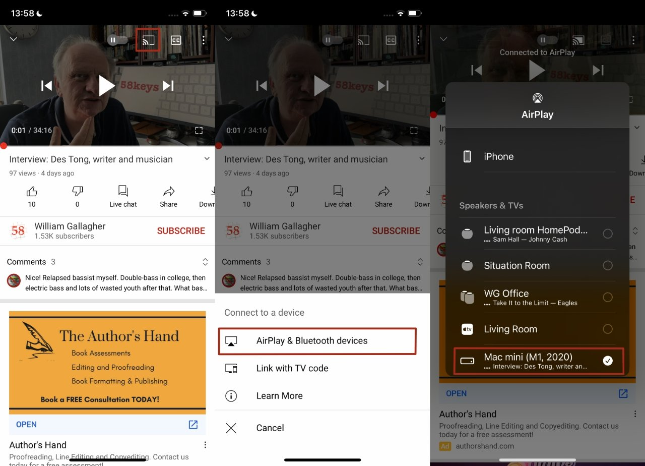 You can send a video directly from an app like YouTube to your Mac