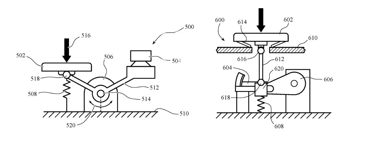 Detail from the patent showing mechanisms for detecting key presses and returning different feedback