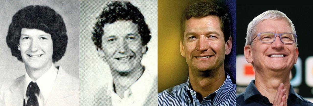 Tim Cook L-R: 1978, 1982, unknown, and 2020 (sources; various, including Apple and Auburn University)