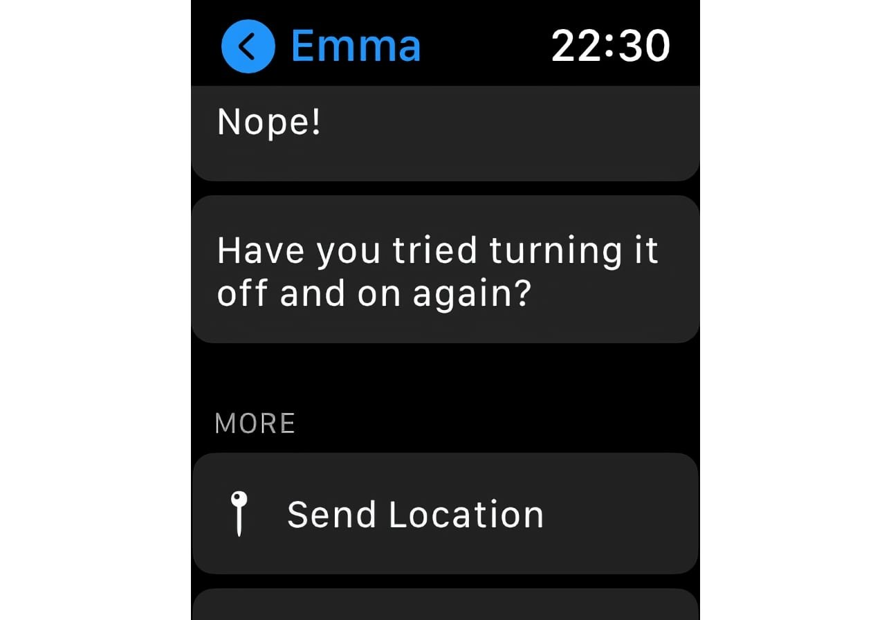 By default, you can find any new custom replies at the bottom of the list on the Apple Watch, unless you move it.