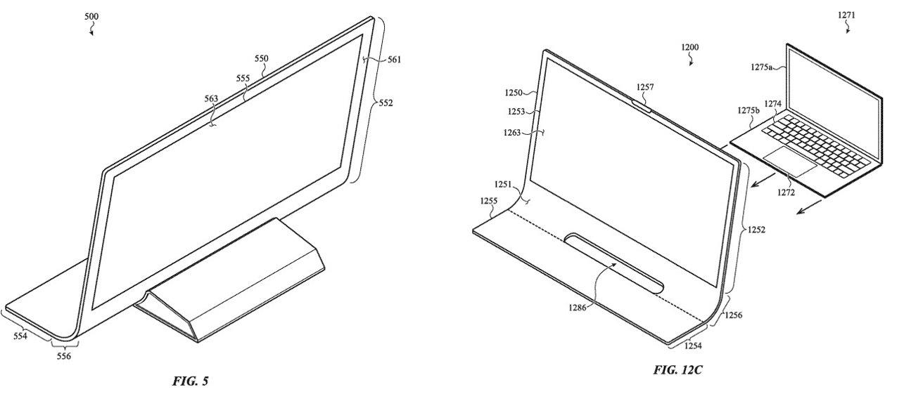 La izquierda muestra la cuña potencial utilizada para sostener el vidrio.  A la derecha, cómo se puede utilizar para conectar una MacBook.