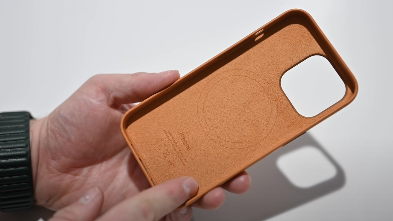 The inside of Apple's leather case