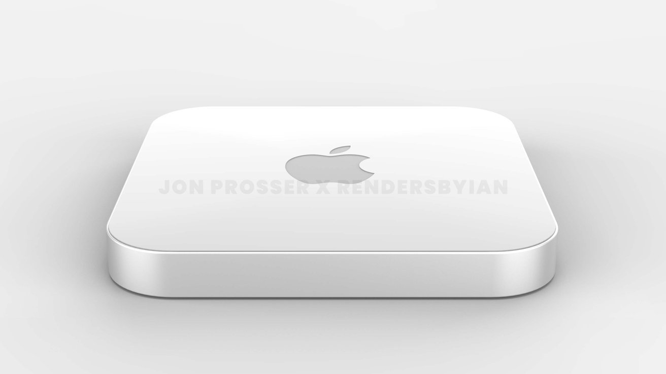 A render of what the new Mac mini could look like, complete with a perspex-like top.