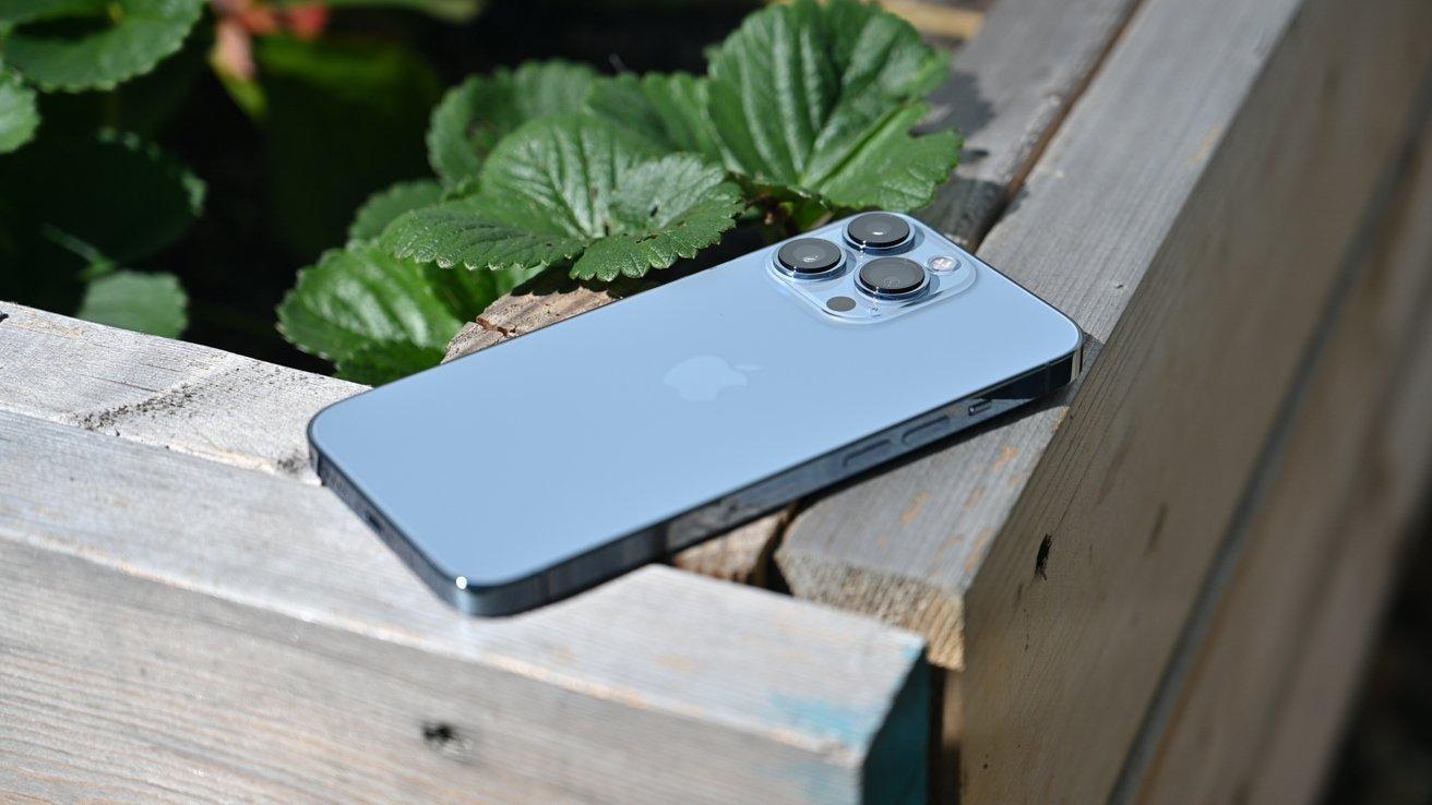 Sierra Blue iPhone 13 Pro in the bright sunlight