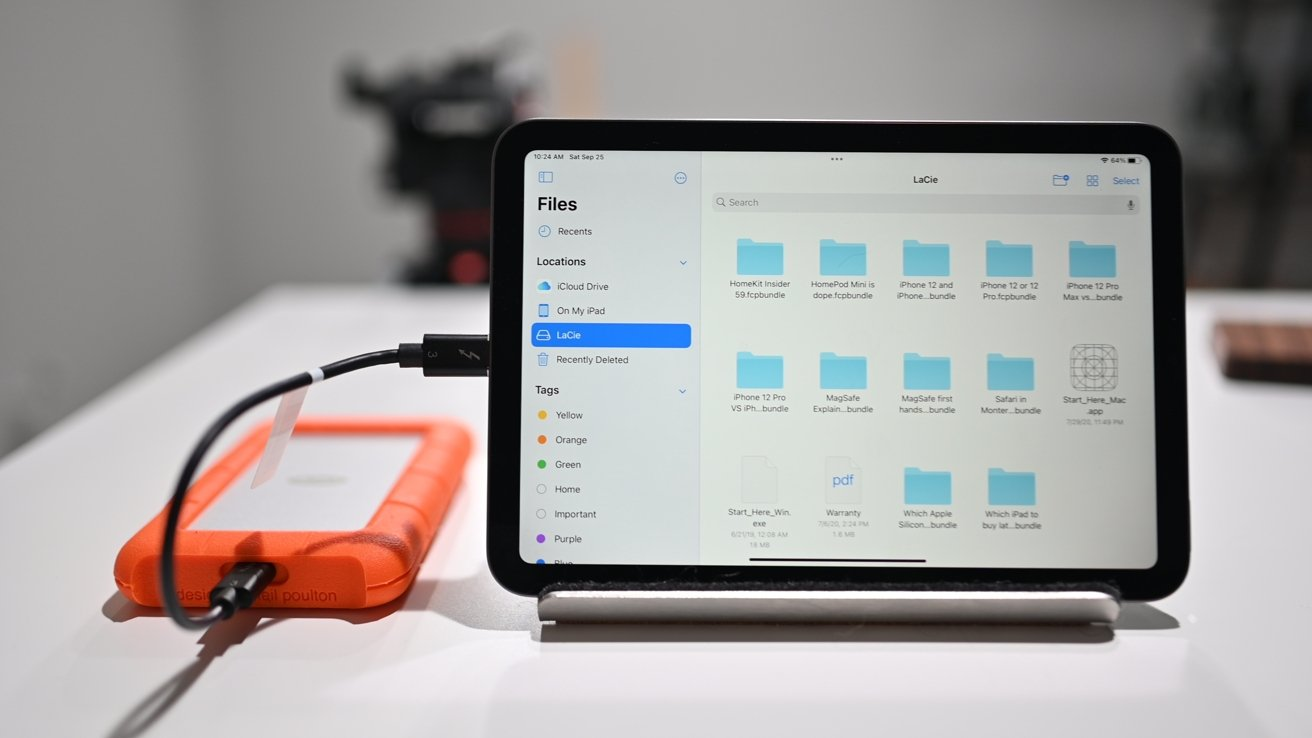 LaCie Rugged Drive connected over USB-C to iPad mini 6