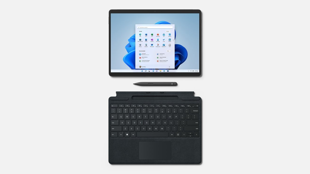 You can get a stylus or a keyboard cover for the Surface Pro 8, though as add-on items.