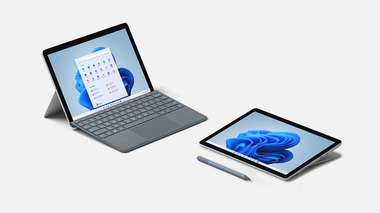 The Surface Go 3 has roughly the same footprint as an iPad or iPad Air, but with a lot more thickness.