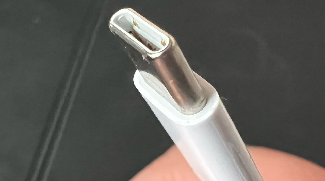 A slightly worn USB-C cable