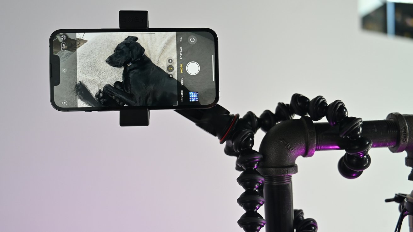 Taking photos with our iPhone hanging from GorillaPod