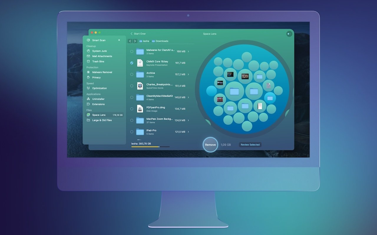 The Space Lens feature is an innovative way to visualize what's taking up large amounts of space on your Mac's drive.